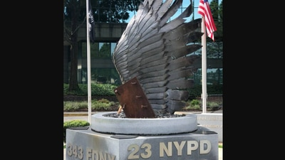A piece of the Twin Towers rests in DeKalb County